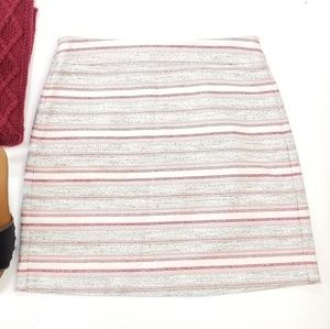 Ann Taylor Loft Tweed Striped Burgundy Lined Skirt